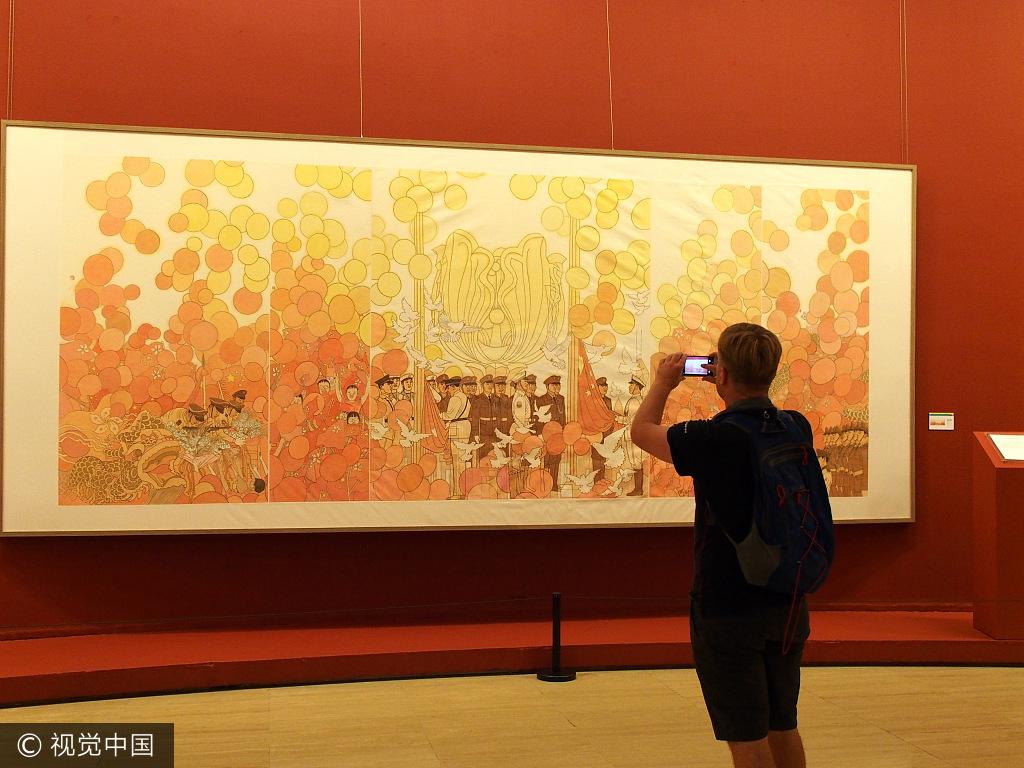 庆香港回归20年中国画作品展开
